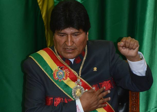 Bolivian reelected President, Evo Morales, is sworn in for a third mandate, at the National Congress in La Paz, on January 22, 2015. Morales, Bolivia's first indigenous president, took the oath of office with his left fist raised
