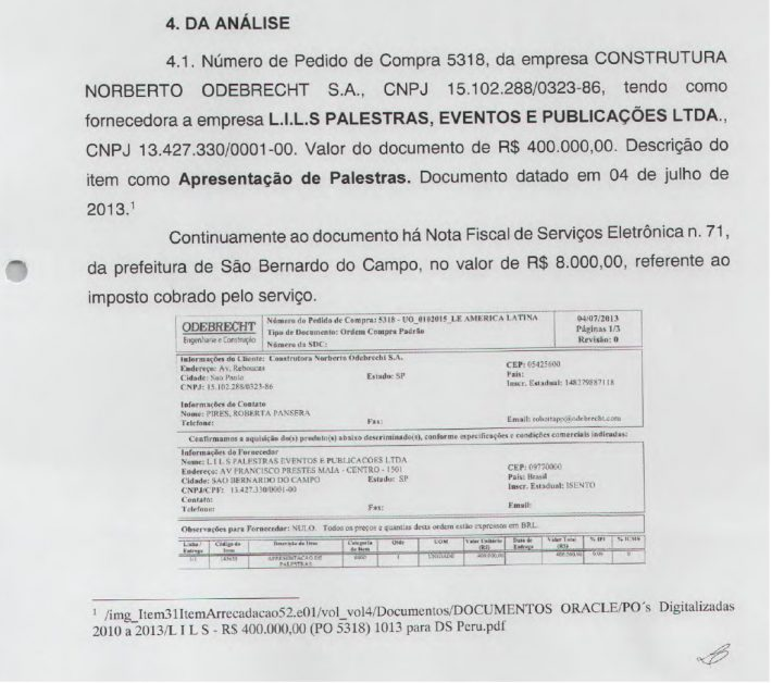 ANALISE PAGAMENTO LILS LULA ODEBRECHT