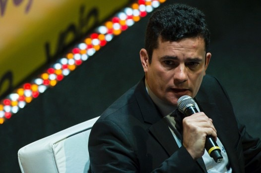 Brazilian Federal judge Sergio Moro participates in the Economic Forum in Sao Paulo, Brazil, on May 23, 2016. Moro heads the corruption investigation in the state-owned oil company Petrobras, known as Operation Car Wash. / AFP PHOTO / NELSON ALMEIDA