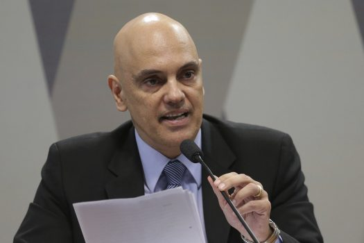 Brazil's former Minister of Justice Alexandre de Moraes, speaks about his indication to Minister of Supreme Court, during session of the Commission of Constitution and Justice of the Senate, in Brasilia, Brazil, Tuesday, Feb. 21, 2017. The Brazilian Senate has begun a process on Feb. 21, 2017, that is likely to confirm Moraes for the country's Supreme Court. (AP Photo/Eraldo Peres)